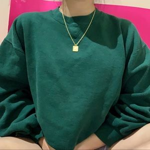 chunky green crewneck sweater ✧